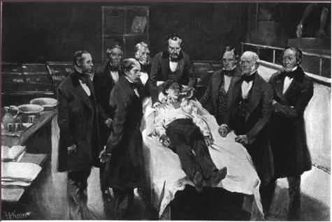 Pintura da primeira demonstração pública, em 1846, de cirurgia com anestesia com éter, no Hospital Geral de Massachusets