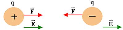 Representação vetorial do campo elétrico para uma carga positiva e negativa