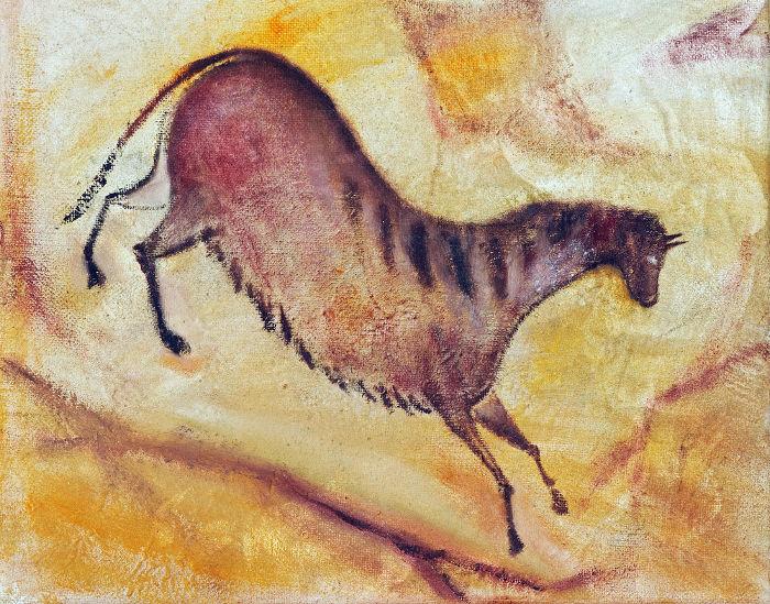 A caverna de Altamira, na Espanha, detém alguns dos principais exemplos de arte rupestre, como esse cavalo exposto em uma de suas paredes