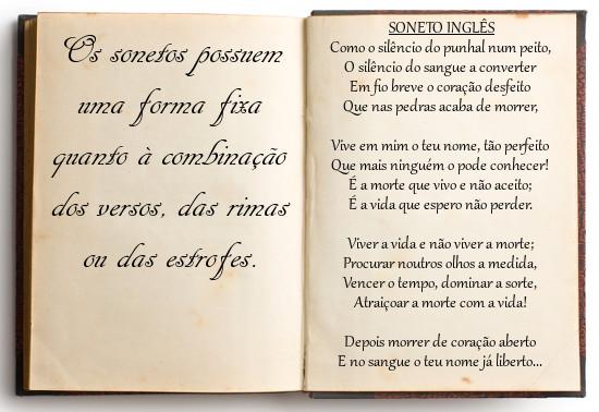 A combinação dos versos no soneto possui uma forma fixa