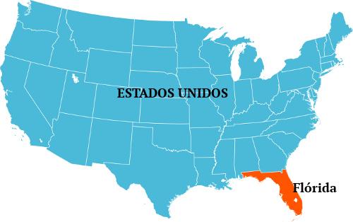 A Flórida, nos Estados Unidos, é um exemplo de península