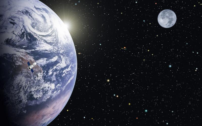 A Lua orbita a Terra com uma velocidade tangencial à trajetória de aproximadamente 3700 km/h, o que a mantém em órbita