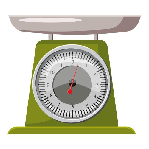 A proporção pode ser observada no peso de líquidos