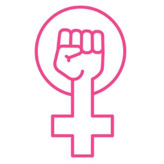 A representação do gênero feminino e uma mão fechada com o pulso erguido é o atual símbolo do movimento feminista