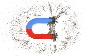 O campo magnético pode ser demonstrado jogando-se limalhas de ferro sobre o ímã