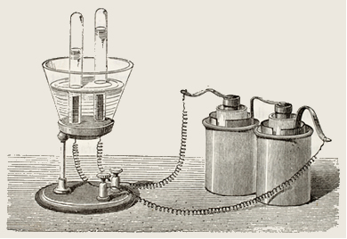 Antiga ilustração do equipamento de eletrólise. Original, do desenho de Javandier, foi publicado em LEau, por G. Tissandier, Hachette, Paris, 1873