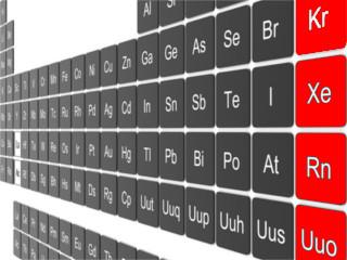 Os gases nobres estão na última coluna do lado direito da Tabela Periódica
