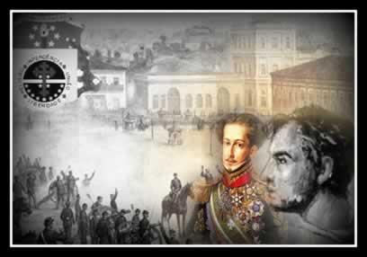 À esquerda, D. Pedro I, imperador do Brasil; e à direita, Frei Caneca, um dos líderes da Confederação do Equador (1824)