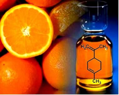 O limoneno é um terpeno encontrado nos óleos extraídos das cascas de frutas cítricas, como a laranja