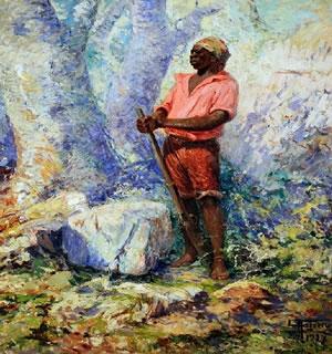 Tela de Antônio Parreiras (1860-1937) retratando Zumbi dos Palmares