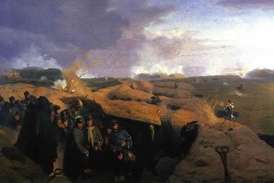 Representação da Batalha de Dyboel, feita por Jørgen Valentin Sonne (1801–1890)