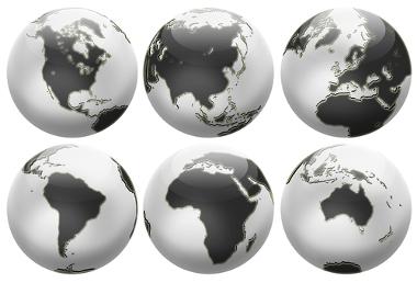 Os continentes terrestres são África, Ásia, América, Europa, Oceania e Antártida