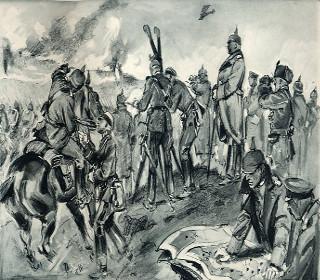 Gravura retratando oficiais e soldados alemães na Batalha de Tannenberg em 1914