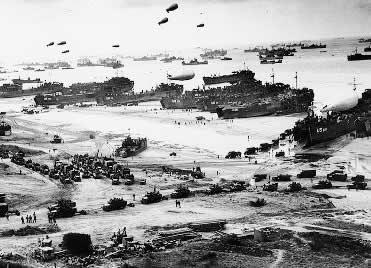 """O dia """"D"""", momento crucial na vitória militar das forças aliadas."""