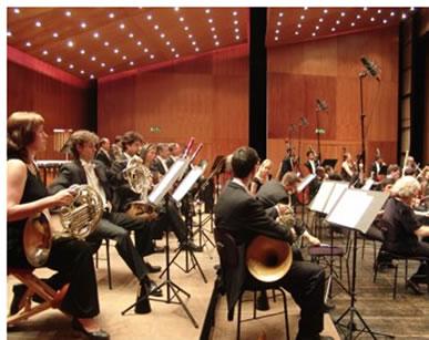 Uma orquestra sinfônica é um exemplo de fonte sonora