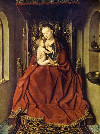 """Acima, """"A madonna"""", de Van Eyck"""