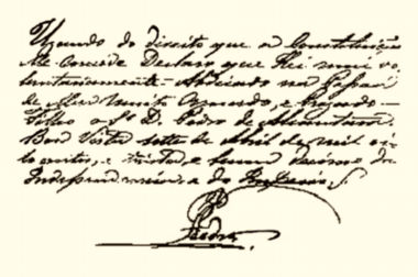 Acima, bilhete em que D. Pedro I escreveu a sua abdicação