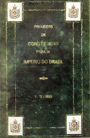 Acima, capa do Projeto de Constituição para o Império do Brasil, de 11 de dezembro de 1823