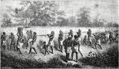 Acima, escravos negros apresados por capatazes