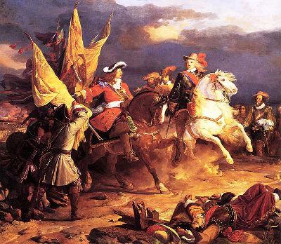 Acima, Felipe V em uma das batalhas da Guerra de Sucessão Espanhola