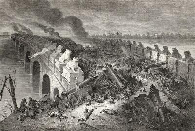 Acima, imagem de uma das batalhas travadas na Segunda Guerra do Ópio