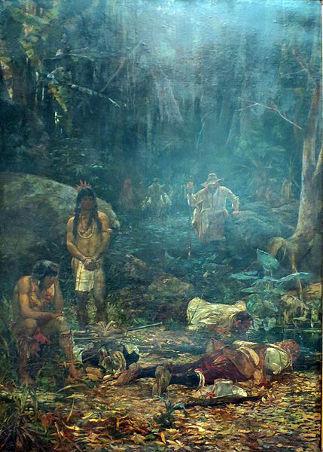Acima, tela de Henrique Bernardinelli retratando uma ação de apresamento de índios por bandeirantes