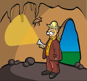 Representação do trabalho de um arqueólogo