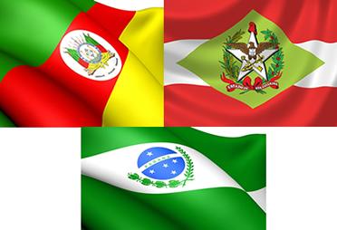 Bandeira dos Estados que compõe a Região Sul do Brasil