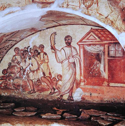 Afrescos feitos em um catacumba que ficava na Via Latina (estrada romana).*