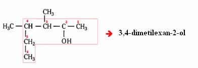 Exemplo de álcool ramificado.