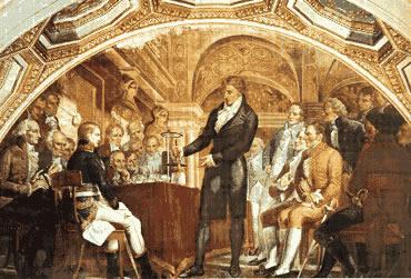 Alessandro Volta demostra sua descoberta a Napoleão