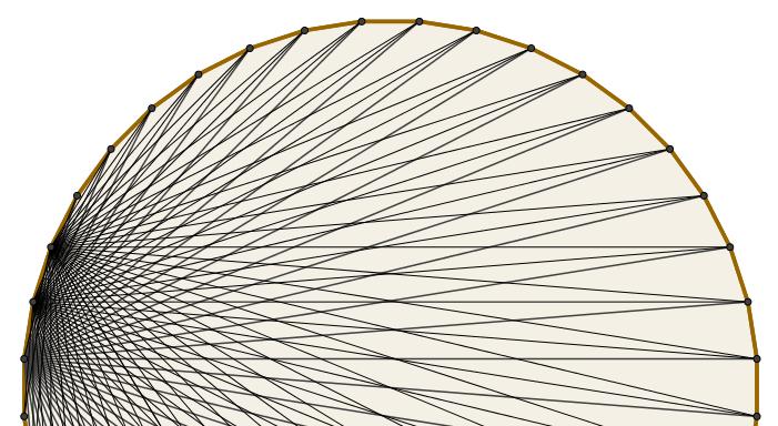 Algumas das 740 diagonais de um polígono de 40 lados