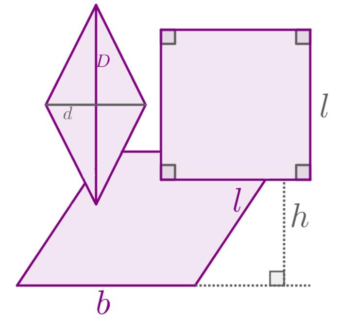 Alguns paralelogramos e medidas usadas para o cálculo de suas áreas
