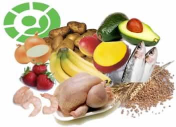 Alimentos comumente irradiados e o símbolo verde, que é usado em rótulos para indicar que foram submetidos à radiação