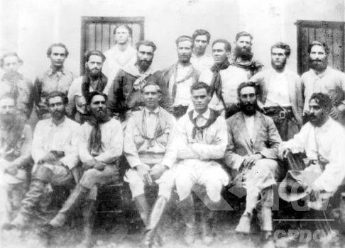 Foto de 1925 que mostra o Alto Comando da Coluna Prestes durante passagem por Tocantins.*