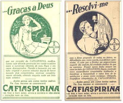 Anúncios da CafiAspirina, da Bayer