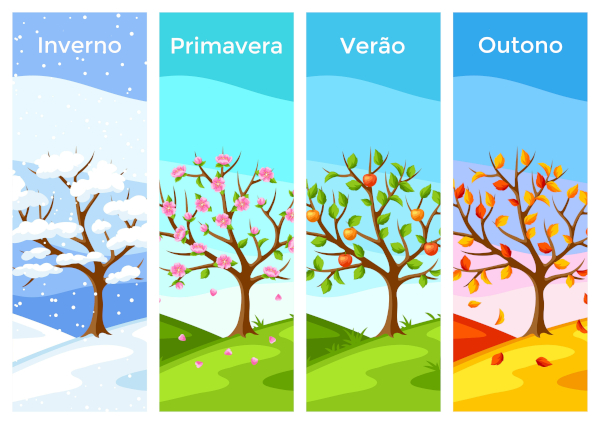Ao longo de um ano, as estações do ano dividem-se em quatro: inverno, primavera, verão e outono.