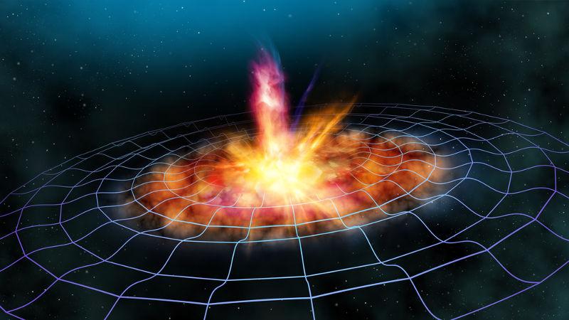 As ondas gravitacionais são fruto da colisão entre corpos, como buracos negros, e propagam-se através do espaço-tempo