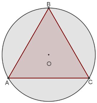 As relações métricas permitem obter medidas de um triângulo equilátero inscrito em uma circunferência