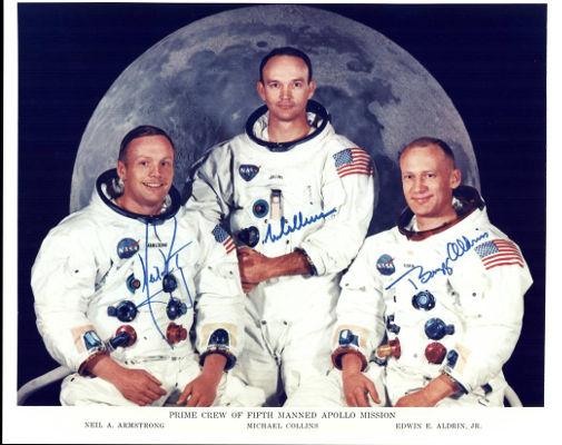 Neil Armstrong, Michael Collins e Buzz Aldrin, os três integrantes da Apollo 11, missão tripulada enviada para a Lua em 1969. (Crédito: Nasa)
