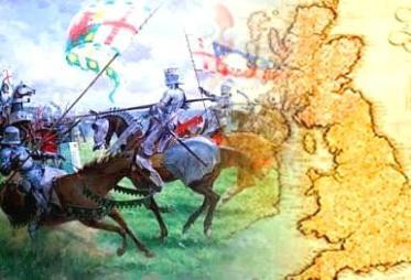 A Guerra das Duas Rosas: duas famílias reclamando o controle da Coroa Britânica.