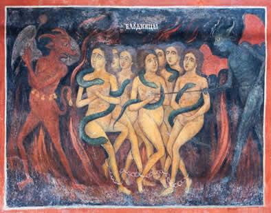 Apesar de ser considerada um pecado mortal, a prostituição foi tolerada na Idade Média. Na imagem, a representação das mulheres no inferno.*