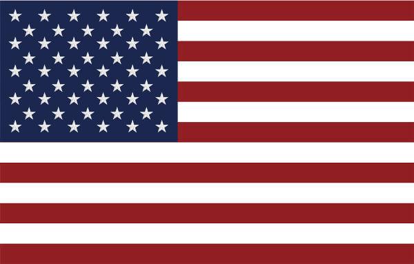 A bandeira dos EUA contém 13 faixas simbolizando as Treze Colônias e 50 estrelas simbolizando os estados que formam o país.