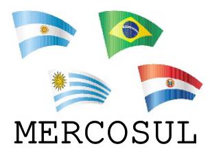 Bandeiras dos países-membros do Mercosul