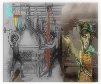 À direita, trabalhadores quebrando fábricas; e à esquerda, Ned Ludd, o líder do movimento dos quebradores de máquinas