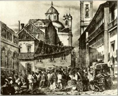 A Rua do Ouvidor foi um dos palcos dos conflitos que marcaram a Revolta do Vintém. Gravura de Louis-Auguste Moreaux e Abraham-Louis Buvelot, 1845