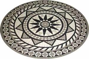 Mosaico feito com argamassa que provém do óxido de cálcio.