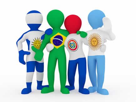 Figura ilustra os países que compõem o Mercosul – Uruguai, Brasil, Paraguai e Argentina*