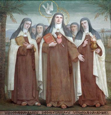 No centro da imagem, a mística espanhola Santa Teresa de Ávila