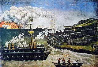 Tela de Niko Pirosmani (1862-1918), A Guerra Russo-Japonesa, que retrata o conflito entre os dois países no Oriente